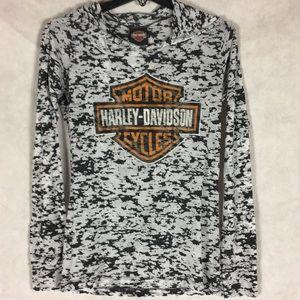 Harley Davidson  long sleeve tee with hood szM